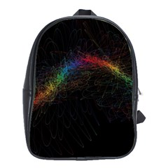 Background Light Glow Lines Colors School Bag (large)