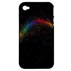 Background Light Glow Lines Colors Apple Iphone 4/4s Hardshell Case (pc+silicone)