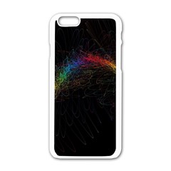 Background Light Glow Lines Colors Apple Iphone 6/6s White Enamel Case