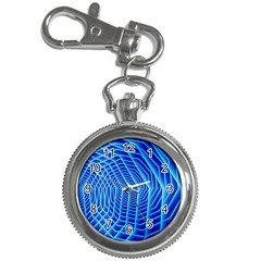 Blue Background Light Glow Abstract Art Key Chain Watches