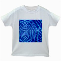 Blue Background Light Glow Abstract Art Kids White T Shirts