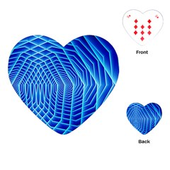 Blue Background Light Glow Abstract Art Playing Cards (heart)