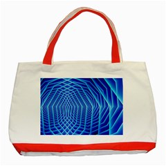 Blue Background Light Glow Abstract Art Classic Tote Bag (red) by Nexatart