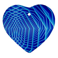 Blue Background Light Glow Abstract Art Heart Ornament (two Sides)