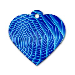Blue Background Light Glow Abstract Art Dog Tag Heart (two Sides)