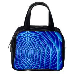 Blue Background Light Glow Abstract Art Classic Handbags (one Side)