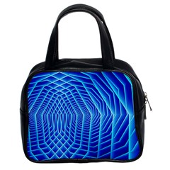 Blue Background Light Glow Abstract Art Classic Handbags (2 Sides)