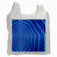 Blue Background Light Glow Abstract Art Recycle Bag (one Side)