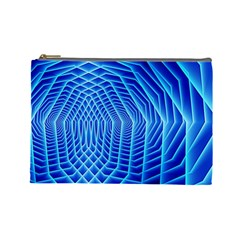 Blue Background Light Glow Abstract Art Cosmetic Bag (large)