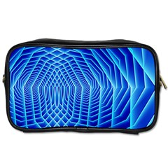 Blue Background Light Glow Abstract Art Toiletries Bags 2 Side