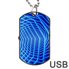 Blue Background Light Glow Abstract Art Dog Tag Usb Flash (one Side)