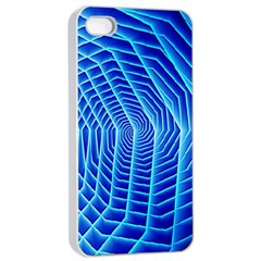 Blue Background Light Glow Abstract Art Apple Iphone 4/4s Seamless Case (white)