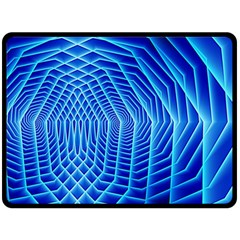 Blue Background Light Glow Abstract Art Double Sided Fleece Blanket (large)