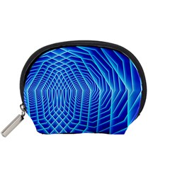 Blue Background Light Glow Abstract Art Accessory Pouches (small)