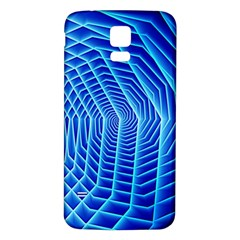 Blue Background Light Glow Abstract Art Samsung Galaxy S5 Back Case (white)