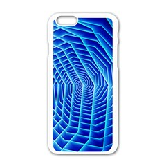 Blue Background Light Glow Abstract Art Apple Iphone 6/6s White Enamel Case