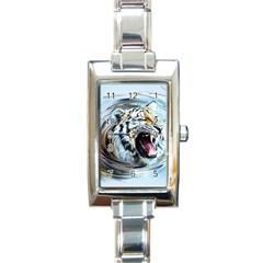 Tiger Animal Art Swirl Decorative Rectangle Italian Charm Watch