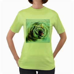 Tiger Animal Art Swirl Decorative Women s Green T Shirt
