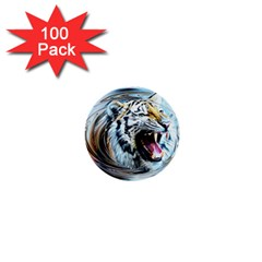 Tiger Animal Art Swirl Decorative 1  Mini Buttons (100 Pack)