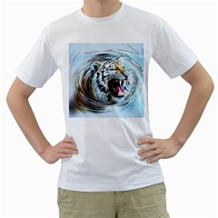 Tiger Animal Art Swirl Decorative Men s T Shirt (white) (two Sided)