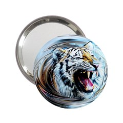 Tiger Animal Art Swirl Decorative 2 25  Handbag Mirrors