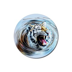 Tiger Animal Art Swirl Decorative Rubber Round Coaster (4 Pack)  by Nexatart