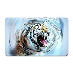 Tiger Animal Art Swirl Decorative Magnet (rectangular)