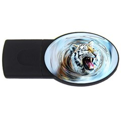 Tiger Animal Art Swirl Decorative Usb Flash Drive Oval (2 Gb) by Nexatart