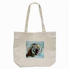 Tiger Animal Art Swirl Decorative Tote Bag (cream)