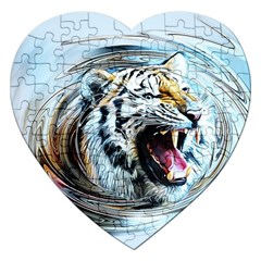 Tiger Animal Art Swirl Decorative Jigsaw Puzzle (heart)