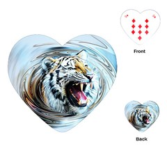 Tiger Animal Art Swirl Decorative Playing Cards (heart)