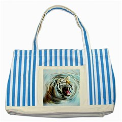 Tiger Animal Art Swirl Decorative Striped Blue Tote Bag
