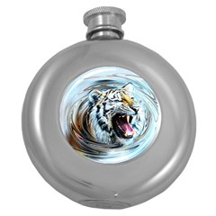 Tiger Animal Art Swirl Decorative Round Hip Flask (5 Oz)