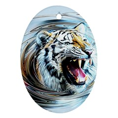 Tiger Animal Art Swirl Decorative Oval Ornament (two Sides)
