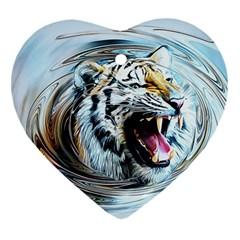 Tiger Animal Art Swirl Decorative Heart Ornament (two Sides)