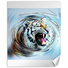 Tiger Animal Art Swirl Decorative Canvas 11  X 14