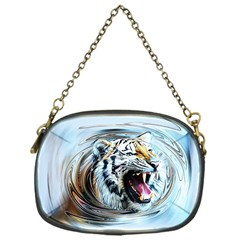 Tiger Animal Art Swirl Decorative Chain Purses (one Side)