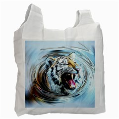 Tiger Animal Art Swirl Decorative Recycle Bag (two Side)