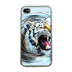 Tiger Animal Art Swirl Decorative Apple Iphone 4 Case (clear)