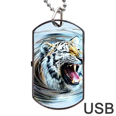 Tiger Animal Art Swirl Decorative Dog Tag Usb Flash (two Sides) by Nexatart
