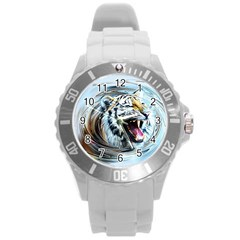Tiger Animal Art Swirl Decorative Round Plastic Sport Watch (l)