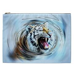 Tiger Animal Art Swirl Decorative Cosmetic Bag (xxl)