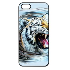 Tiger Animal Art Swirl Decorative Apple Iphone 5 Seamless Case (black)