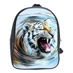 Tiger Animal Art Swirl Decorative School Bag (xl)