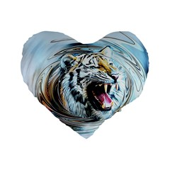 Tiger Animal Art Swirl Decorative Standard 16  Premium Heart Shape Cushions
