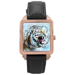 Tiger Animal Art Swirl Decorative Rose Gold Leather Watch