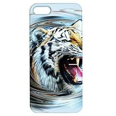 Tiger Animal Art Swirl Decorative Apple Iphone 5 Hardshell Case With Stand