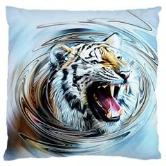 Tiger Animal Art Swirl Decorative Large Flano Cushion Case (two Sides)