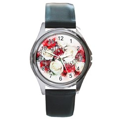 Flowers Roses Bouquet Art Nature Round Metal Watch