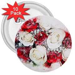Flowers Roses Bouquet Art Nature 3  Buttons (10 Pack)